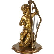 Italian Angel or Cherub Sculpture Harp Player