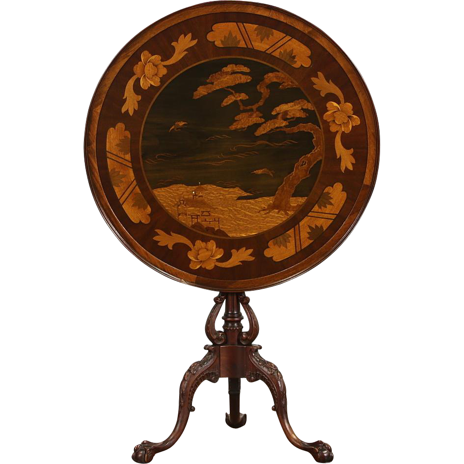 Tilt Top 1870 Antique French Inlaid Marquetry Tea Table, Japanese & Eagle Motifs
