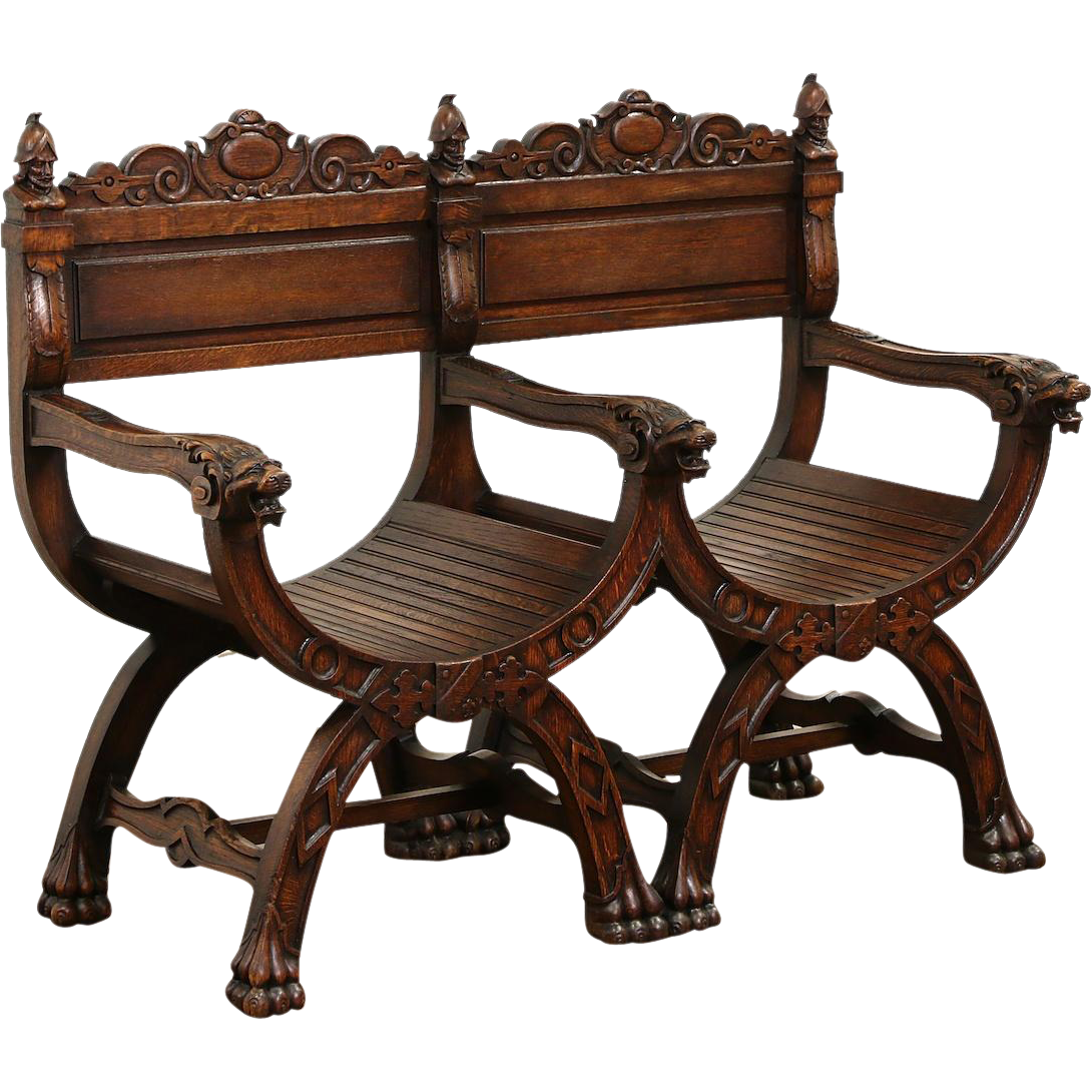 Savonarola Double 1890's Antique Italian Carved Oak Hall Bench, Lion Heads