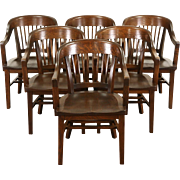 Set of 6 Antique Oak 1920 Sioux Falls Courthouse Chairs with Arms
