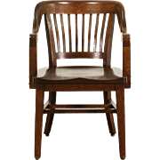 Oak 1920 Antique Sioux City Courthouse Chair with Arms & Brass Feet