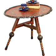 Tyrolean Austria Folk Art 1910 Antique Hand Carved & Painted Table