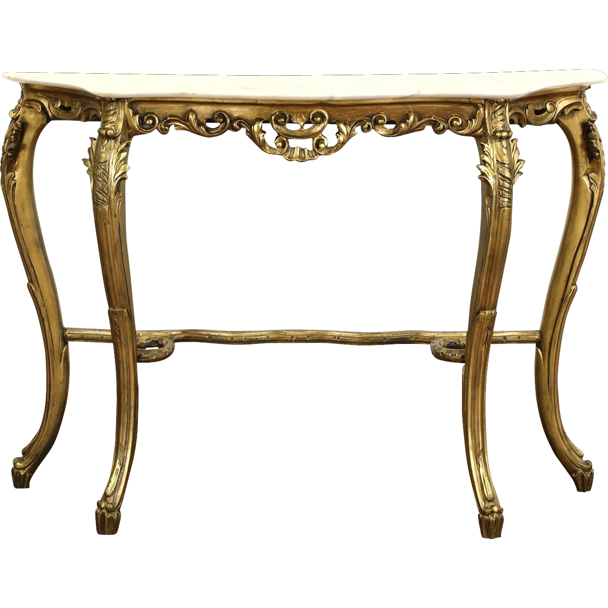 Italian Carved 1930's Antique Burnished Gold Hall Console Table, Marble Top