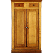 Country Pine 1860's Antique Jelly or Pantry Cupboard, Square Nails