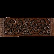 """Thai Architectural Salvage Fragment, Antique Hand Carved Teak, 16"""" x 39"""""""