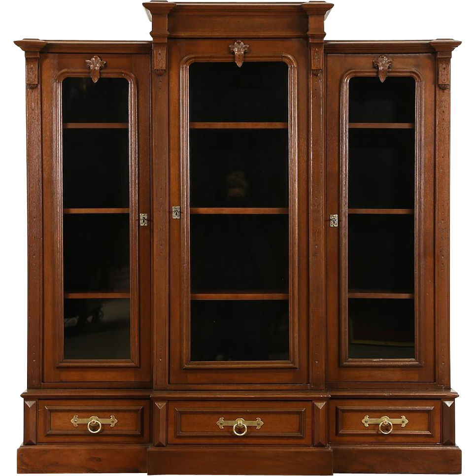 Victorian 1880 Antique Walnut Triple Library Bookcase, Adjustable Shelves