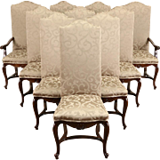 Set of 10 Country French Oak Vintage Dining Chairs byCouncill, New Upholstery