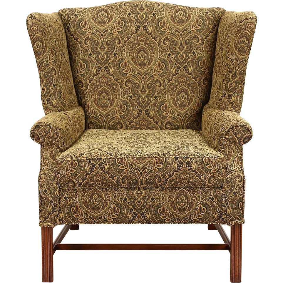 Traditional Wingback Vintage Mahogany Chair with Arms, New Upholstery