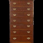 Oak Quarter Sawn 1895 Antique Tall Chest, 7  Drawers