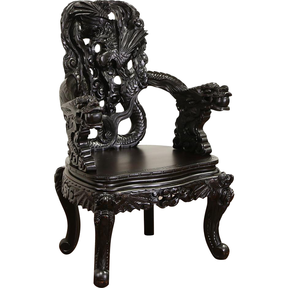 Japanese Dragon & Phoenix Carved Meiji 1880 Antique Lacquered Chair with Arms