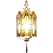 Leaded Stained Glass 1920 Antique Hall Light Fixture