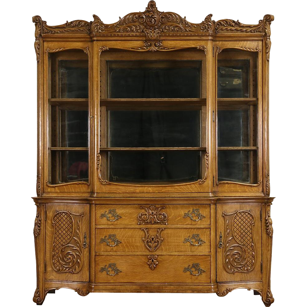 Oak Victorian Carved 1910 Antique China Display Cabinet, Wavy Glass & Mirrors