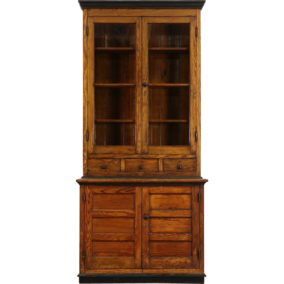 Country Pine 1890's Antique Pantry Cupboard Kitchen Cabinet, Wavy Glass Doors