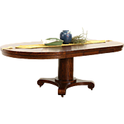 """Round 48"""" Quarter Sawn Oak 1900 Antique Dining Table, 3 Leaves"""