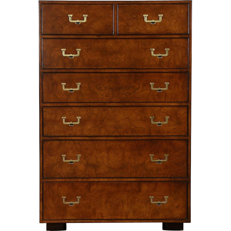 Burl Vintage Campaign Style Tall Chest, Signed Widdicomb