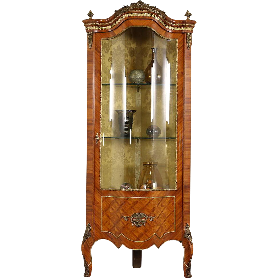 Italian Rosewood & Tulipwood Marquetry Curved Glass Vintage Curio Corner Cabinet