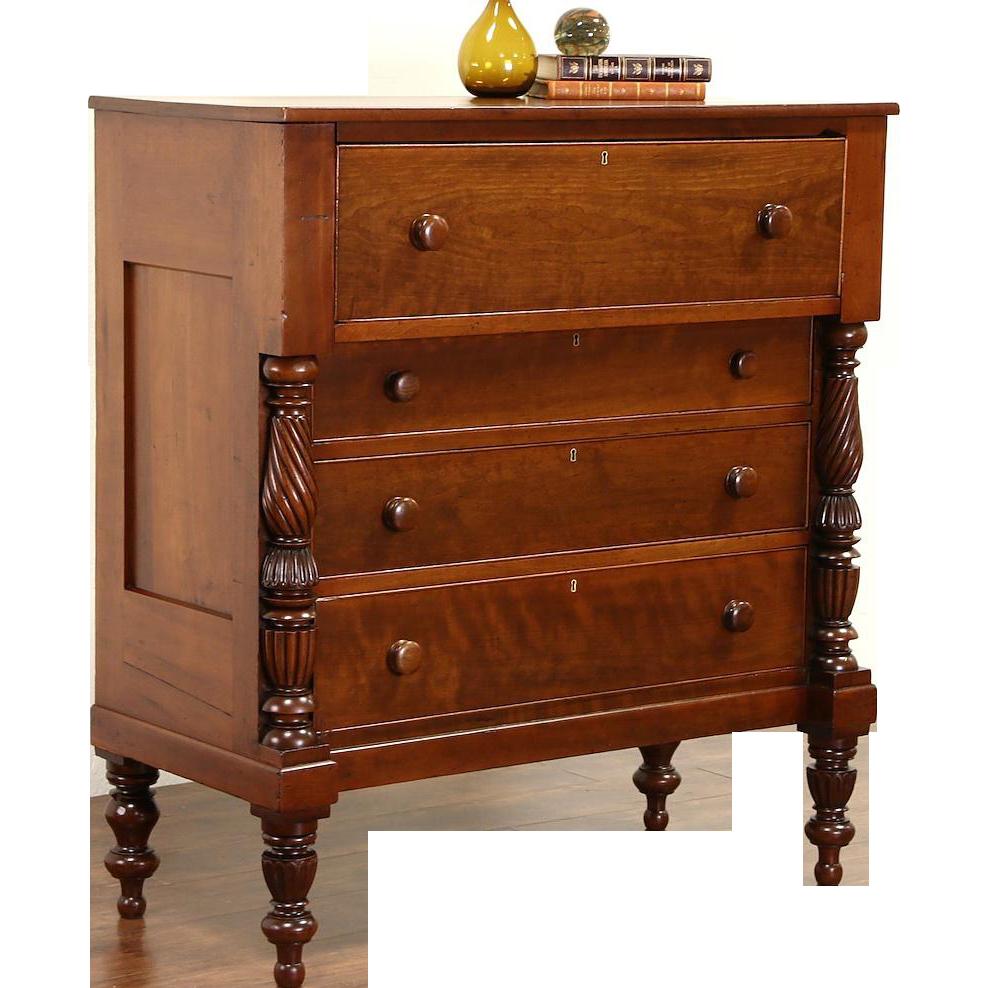 Cherry Empire 1830's Antique Chest or Dresser, Spiral Columns