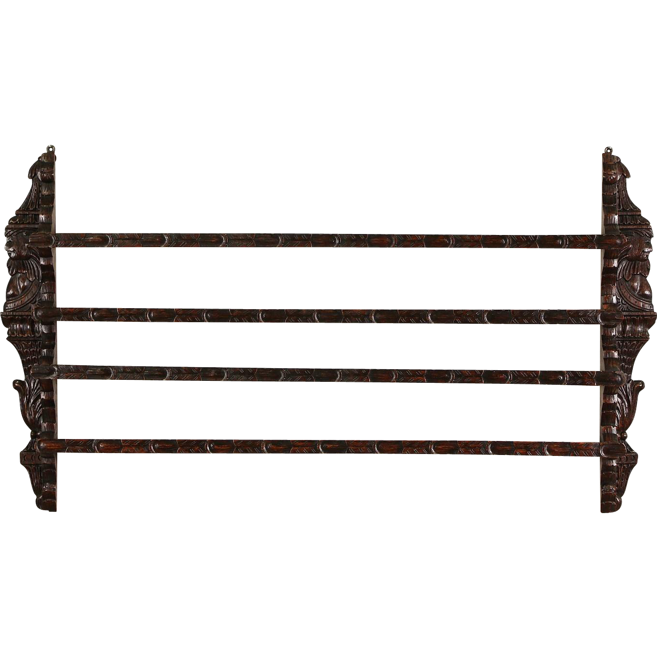 Dutch Oak 1890 Antique Plate Rack, Hand Carved Faces