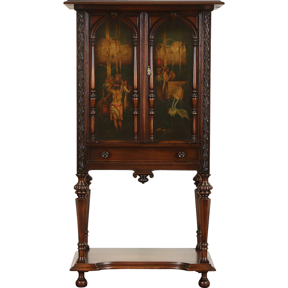 Hand Painted Fountain Scene & Birds 1915 Antique Walnut Music or Bar Cabinet
