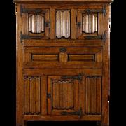 Dutch Oak 1840 Antique Bar or Library Cabinet, Carved Linen Fold Panels