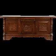 Dutch Sideboard, Credenza, TV Cabinet, Carved Oak Nautical Scenes, 1930 Vintage