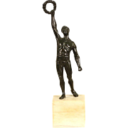 Bronze Sculpture, Olympic Athlete with Laurel Victory Wreath, Marble Base
