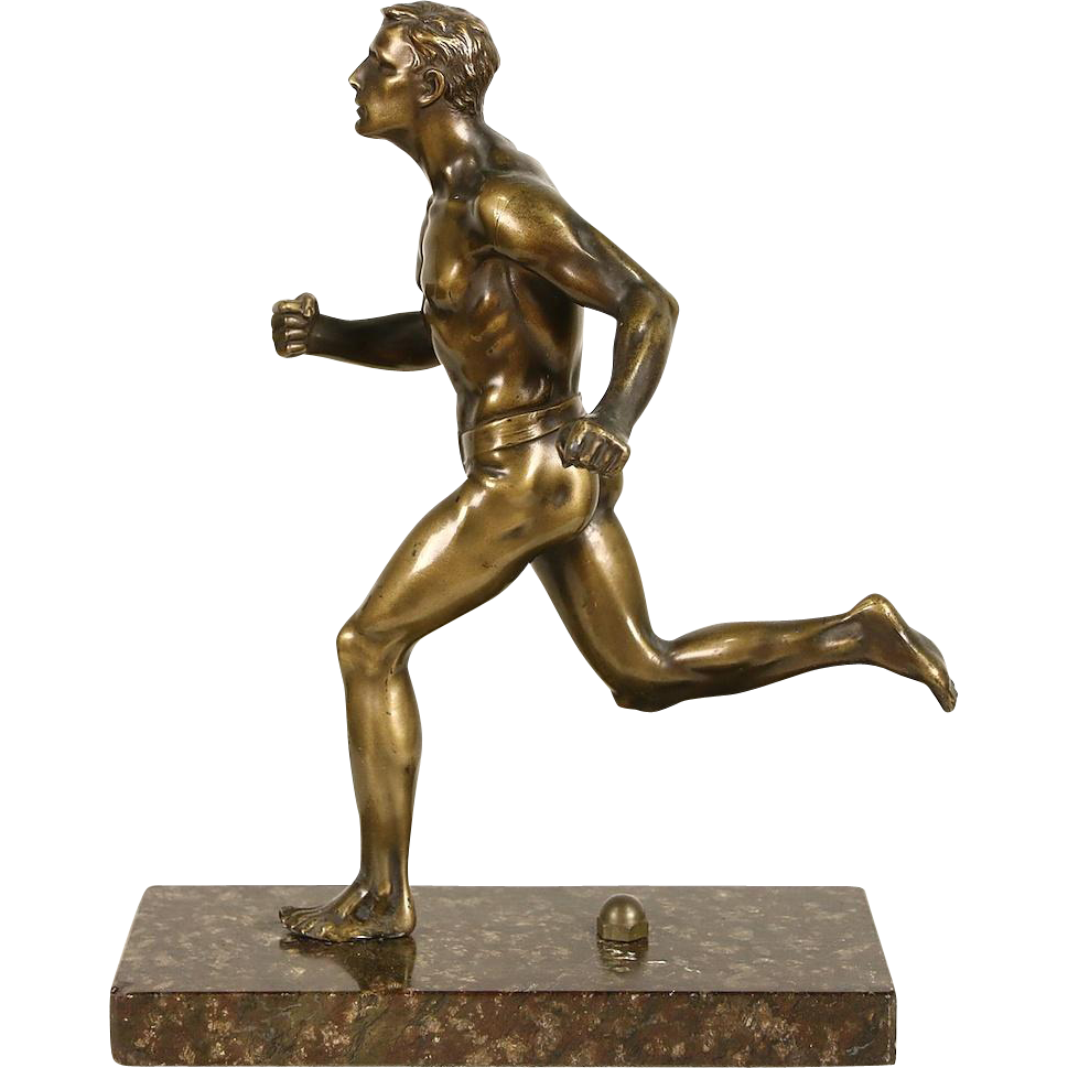 Bronze 1920's Sculpture of a Runner, Marble Base