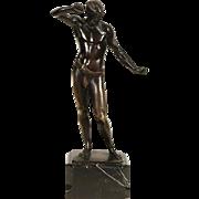 Bronze Sculpture of Athlete, 1915 Antique Statue, Signed Ludwig Eisenberger