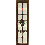 English 1890 Antique Victorian Salvage Stained Leaded Glass Window