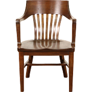 Library or Office Mahogany 1925 Chicago Bank Chair with Arms