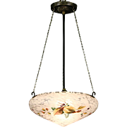 Ceiling Light Fixture, 1920's Antique Hand Painted Opal Satin Glass Shade