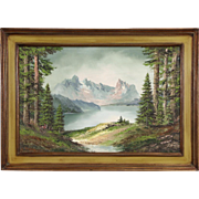 Mountains in the Alps, Original Oil Painting signed Gast, Germany 1940's Vintage