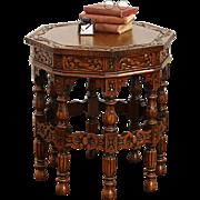 Octagonal 1920's Antique Carved Chairside Table, Signed Vander Voort, Belgium