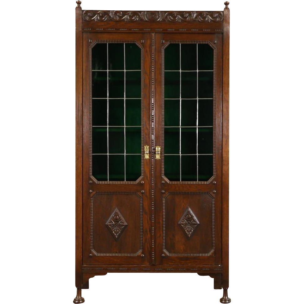 Oak Renaissance Carved 1900 Antique Bookcase, Leaded Stained Glass Doors