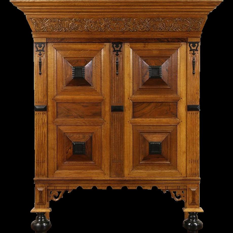 Dutch Hand Carved 1920's Kas Dowry Cabinet Armoire, Oak, Rosewood & Ebony