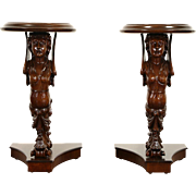 Pair of Italian 1900 Carved Angel Sculpture Stands, Pedestals, Chairside Tables