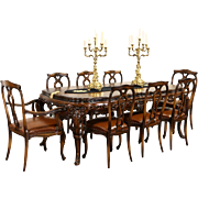 Italian Baroque Carved 1930's Vintage Dining Set, Table & 8 Leather Chairs