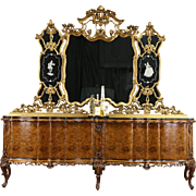 "Italian Baroque Carved 1930's Vintage 9' 8"" Sideboard Server & Gold Mirror"