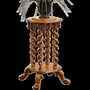Curly Birdseye Maple 1890 Antique Carved Artwork Pedestal or Plant Stand