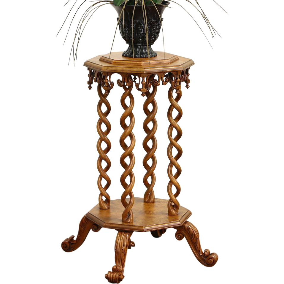 Curly Birdseye Maple 1890 Antique Carved Artwork Pedestal or Plant Stand