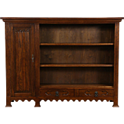 Dutch 1920's Antique Oak Library Bookcase, Carved Linen Fold Door
