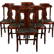 Set of 6 Antique 1900 Mahogany Empire Dining Chairs, New Upholstery, Signed