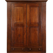 Country Walnut 1850's Ohio Armoire, Wardrobe or Closet