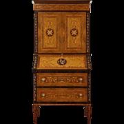 Italian 1930's Vintage Rosewood, Tulpwood, Ebony Marquetry Secretary Desk
