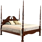 King Size Rice Plantation 4 Poster Bed, Carved Mahogany & Cherry