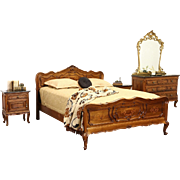 Italian 1930's Bedroom Set, Queen Size Bed, Marble Top Chest & 2 Nightstands
