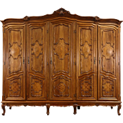 Italian 1930's Vintage 5 Door Carved Walnut Armoire, Wardrobe or Closet