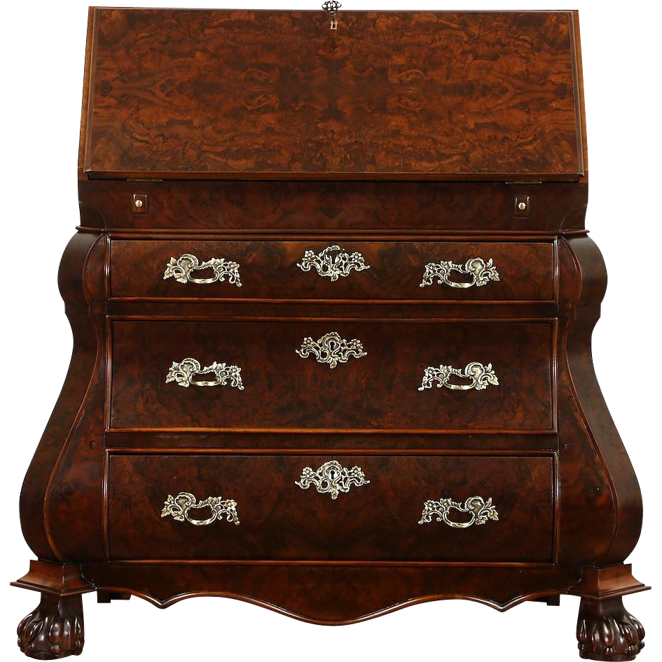 Dutch Bombe 1950's Vintage Walnut & Burl Secretary Desk, Secret Compartments
