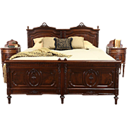 Italian Carved Walnut 1900 Bedroom Set, King Size Bed, 2 Marble Top Nightstands