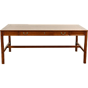 Oak Vintage Library Table or Writing Desk, Signed Alex Stuart of Cal.